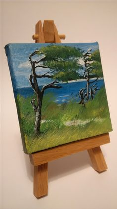 "Mini canvas 2x2 Inches Acrylic Painting Baltic Sea ""Windflüchter und Kreidefelsen"""