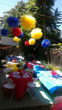 Wonder Woman baby shower, outside party set up.