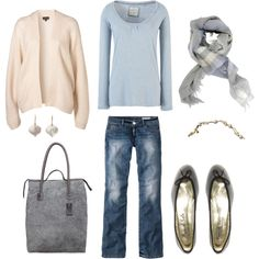 Blue, Cream and Gray, created by bluehydrangea on Polyvore