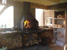 Braai | Joe Benelli Built In Braai, Firewood Holder, Open Fireplace, Cabin Homes, Man Cave, Outdoor Living, Pergola, Bbq, Home Appliances