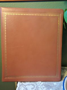 Leather bound Photo Album, unused 50s, National Blank Book Co, Easy-Mount, 44 pages front and back, Gold Embossed cover by EKRdoodleVintage on Etsy