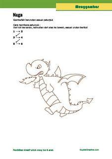 kerajinan anak SD, langkah/petunjuk menggambar tingkat menengah, gambar naga