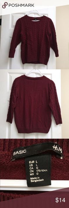 "H&M cable knit maroon crew neck sweater H&M cable knit maroon sweater, size Large but fits like a medium (I'm 5'9"" and usually wear small/medium for reference) H&M Sweaters Crew & Scoop Necks"