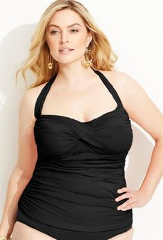 Avenue Plus Size Glam Halter Swim Top with Tummy Control Panel, Black 16 coupon| gamesinfomation.com
