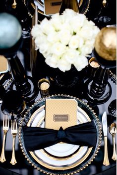 The Black, White and Golden New Year's Eve Formal Party Table Decoration