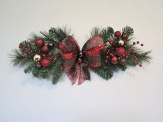 6 Old World Christmas Swags Door Wall Mesh by GiftsByWhatABeautifu Christmas Swags, Christmas Door, Outdoor Christmas, Holiday Wreaths, Christmas Holidays, Christmas Ornaments, Christmas Arrangements, Christmas Centerpieces, Xmas Decorations