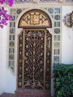 Intricate ironwork doors