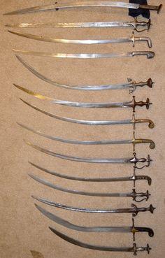 Various Indo-Persian swords showing the difference in size, blade shape and curvature. (yatagan, firangi, shamshir, shashka, tulwar, pulwar, kilij)