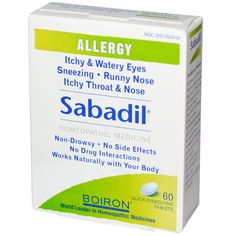 Boiron Sabadil Allergy 60 Tablets ** Check out the image by visiting the link. Signs Of Allergies, Great Lakes Gelatin, Supplements For Hair Loss, Watery Eyes, Itchy Throat, Allergy Relief, Safflower Oil