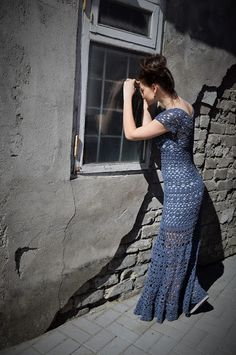 Jeans blue boho dress Vivrut Designs