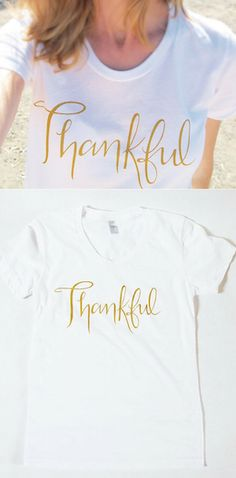 "Gold ink ""thankful"" white graphic t-shirt"