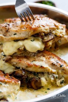 Cheesy Garlic Butter Mushroom Stuffed Chicken - Cafe Delites
