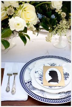 DIY silhouette place cards {http://ow.ly/b7Zym } ; Place setting:  {http://ow.ly/b7ZN0 }