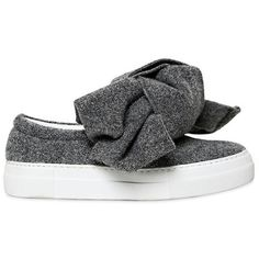 15c066f02c7 Joshua Sanders Women 30mm Bow Lurex Felt Slip-on Sneakers (10 645 UAH) ❤  liked on Polyvore featuring shoes