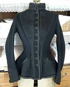 Fabulous Detailed Victorian Antique Black Wool Ladies Riding Jacket | eBay