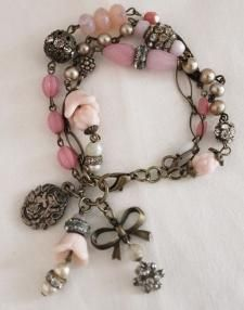 Pink & Patina Bracelet by andrea singarella Jewelry Crafts, Jewelry Art, Beaded Jewelry, Jewelry Bracelets, Jewelery, Vintage Jewelry, Jewelry Accessories, Jewelry Ideas, Bracelet Charms