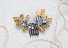 silver and gold Hair Comb bridesmaid hair clip hair by Joyloveclay