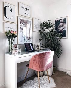 home workspace design inspirations; home office storage ideas for small spaces; home office ideas; Cozy Home Office, Home Office Design, Home Office Decor, Diy Home Decor, Office Furniture, Office Designs, Modern Office Decor, Furniture Ideas, Pink Office Decor