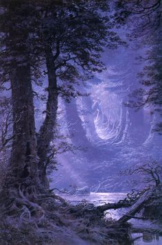Moonlight over Neldoreth The Silmarillion Tolkien Illustration Ted Nasmith Tolkien, Beautiful World, Beautiful Places, Beautiful Pictures, Fantasy World, Fantasy Art, Fantasy Forest, Fantasy Landscape, Middle Earth