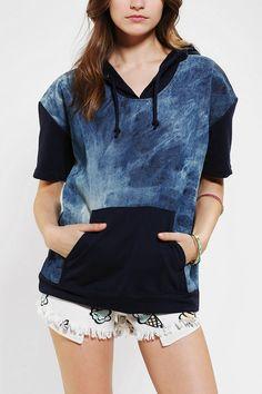 Family Denim Short-Sleeve Pullover Hoodie Sweatshirt