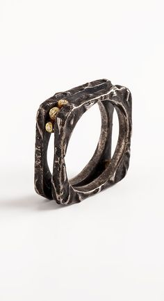 Womens black ring band square ring silver and gold by springit