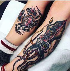 classic tattoo sleeve & classic tattoo & classic tattoo old school & classic tattoo for women & classic tattoos for men & classic tattoo font & classic tattoo sleeve & classic tattoo designs & classic tattoo old school vintage Octopus Tattoo Sleeve, Octopus Tattoos, Sleeve Tattoos, Squid Tattoo, Crab Tattoo, Old Tattoos, Body Art Tattoos, Tatuagem Old Scholl, Pirate Tattoo