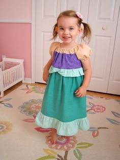 Baby, Toddler, Girl Ariel Dress. Ariel, Little Mermaid Inspired Princess Play Dress.  by Little Seahorse