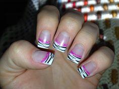 Zebra gel nails w| pink smile line