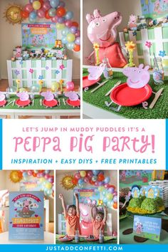 This Peppa Pig birthday party is so much fun! Check out all of the creative and simple Peppa Pig party ideas and inspiration. Fun Peppa Pig themed foods, easy decor DIYs, and FREE printables! With these party ideas you will be able to re-create this celebration at home in no time! Be sure to head to justaddconfetti.com for even more party ideas and printables!