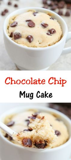 Chocolate Chip Mug Cake. Single serving cake, cooks in the microwave and ready in 5 minutes! # mug cake Chocolate Chip Mug Cake Easy Desserts, Delicious Desserts, Dessert Recipes, Yummy Food, Tasty, Cake Recipes, Recipes Dinner, Lunch Recipes, Casserole Recipes