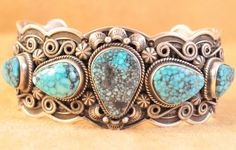 Navajo Sterling S Natural Kingman Turquoise Row Cuff Bracelet By Darrell Cadman in Jewelry & Watches, Ethnic, Regional & Tribal, Native American | eBay