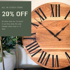 Handmade Wall Clocks, Furniture, & Cutting Boards by HazelOakFarms Huge Clock, Handmade Wall Clocks, Huge Sale, 20 Off, Etsy Seller, Etsy Shop, Free Shipping, Creative, Craftsman Wall Clocks