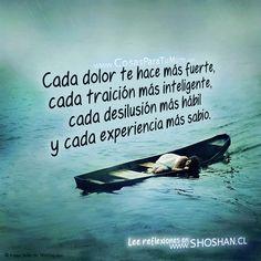 ... Cada dolor te hace más fuerte, cada traición más inteligente, cada desilusión más hábil y cada experiencia más sabio.