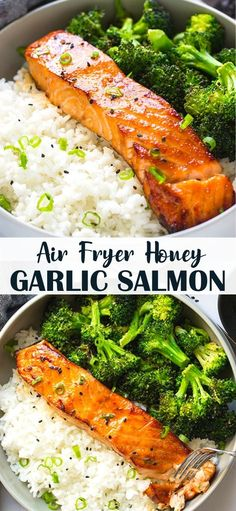 This delicious and perfectly caramelized, healthy 4-ingredient air fryer honey garlic salmon has a sweet and sticky sauce and cooks in less than 10 minutes. Healthy Fish Recipes, Air Fryer Fish Recipes, Best Fish Recipes, Healthy Cooking, Healthy Eats, Vegetarian Recipes, Cooking Recipes, Favorite Recipes, Salmon Meals