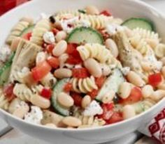 Vegetarian White Bean Pasta with Black Olives and Feta Cheese