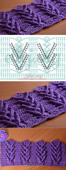 Узор Дельфиниум   Crochet by Ellej   Вязание крючком от Елены Кожухарь