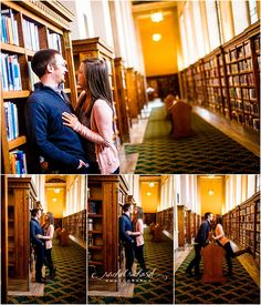 Indianapolis Engagement Photos | Ashleigh + Brett, Central Library, books, downtown Indy, Indianapolis Marion County Public Library, IMCPL, Monument Circle