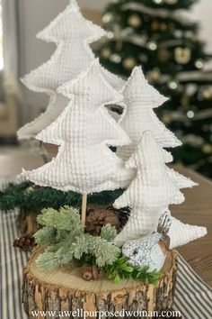 Do you have a chenille bedspread with a hole or stain on it? Here's how to make Chenille Christmas trees before you send it off to a thrift store! Fabric Christmas Trees, Christmas Tree Pattern, Christmas Tree Crafts, Homemade Christmas, Rustic Christmas, Christmas Projects, Simple Christmas, Holiday Crafts, Christmas Holidays