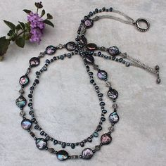 Beaded Double Strand Pearl Necklace Handmade by GodivasJewelryBox, $50.00