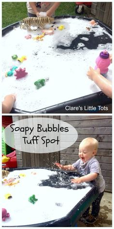 Soapy bubbles tuff spot with hidden animals for a simple fun sensory play for babies, toddles and preschoolers.