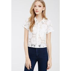 Forever 21 Collared Lace Shirt (19 AUD) ❤ liked on Polyvore