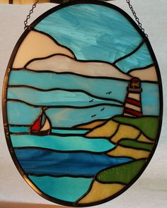 Stained Glass Lighthouse on A Sunny Day  Home by Stainedglasslove, $60.00