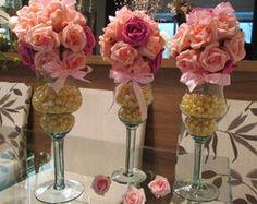 Bola flores na mini taça com pérolas I