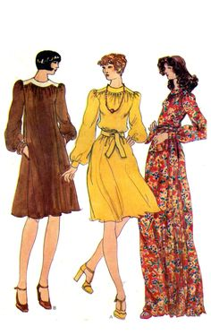 vogue Vogue 8956 Boho Long Sleeve, A-Line Dress in Two Lengths with Shaped Yoke amp; Self Tie Belt, Uncut, Factory Folded Sewing Pattern Size 10 Power Dressing, Miss Dress, Vogue Patterns, Vintage Vogue, Belt Tying, Vintage Sewing Patterns, Dressmaking, Boho, Size 10