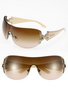 BVLGARI 39mm Embellished Temple Shield Sunglasses available at #Nordstrom