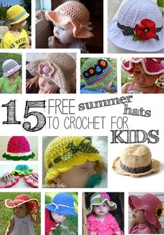 crochet hats 15 Free Summer Hats to Crochet for Kids Crochet Summer Hats, Crochet Kids Hats, Crochet Crafts, Crochet Clothes, Crochet Projects, Crocheted Hats, Mode Crochet, Crochet Cap, Crochet Beanie