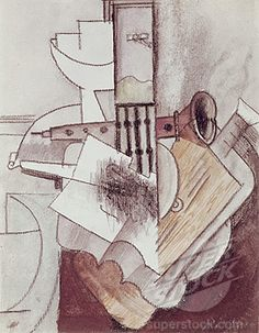 Still life with guitar and clarinet by Pablo Picasso, Stock Photo Pablo Picasso, Picasso Cubism, Picasso Paintings, Oil Paintings, Bombing Of Guernica, Cubist Movement, Still Life Artists, Instruments, High Art
