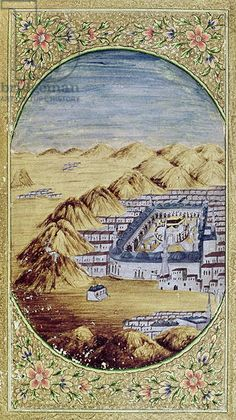 Mecca surrounded by the Mountains of Arafa (gouache on paper)
