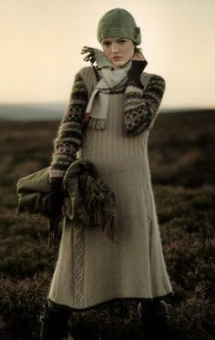 I like this dress, but I probably wouldn't wear it with a sweater under it. Simply Fair Isle via Rowan issue 42