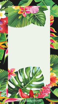 Tropical Flowers & Palm Leaves iPhone Wallpaper